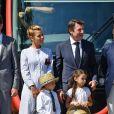 Exclusif - Christian Estrosi et sa femme Laura Tenoudji durant l'inauguration de la ligne 2 Ouest Est du tramway sur le tronçon aérien entre le CADAM et Magnan à Nice 30 juin 2018. © Bruno Bebert/Bestimage