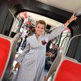 Exclusif - Laura Tenoudji, la femme de Christian Estrosi, le maire de Nice, à bord de la première rame durant l'inauguration de la ligne 2 Ouest Est du tramway sur le tronçon aérien entre le CADAM et Magnan à Nice 30 juin 2018.© Bruno Bebert/Bestimage