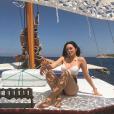 La belle Agathe Auproux très sexy en Corse le 7 juillet 2018.