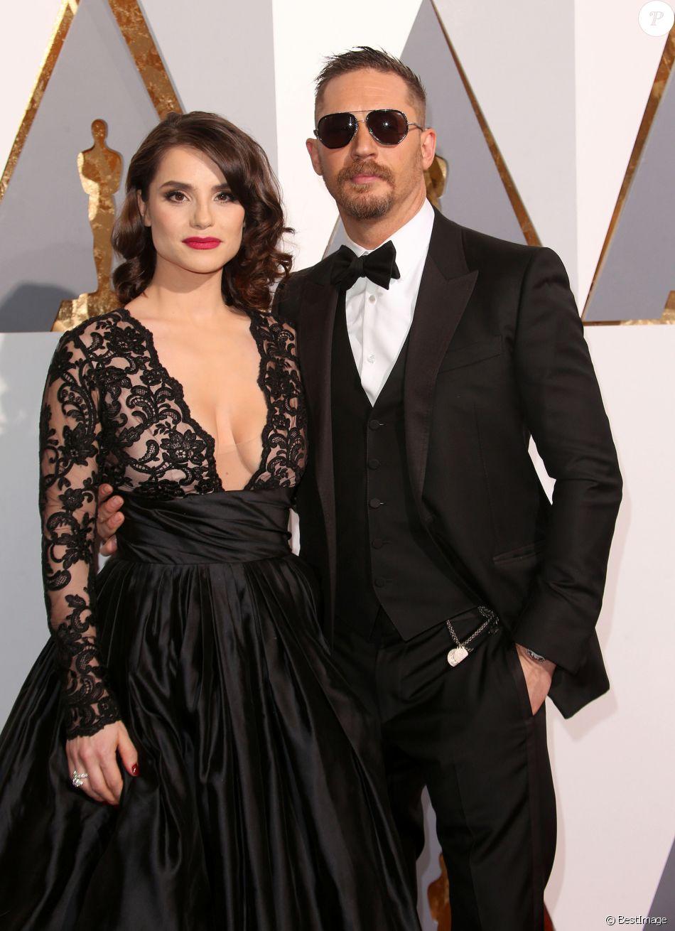 Tom Hardy et sa femme Charlotte Riley - Arrivées à la 88ème cérémonie des Oscars à Los Angeles le 28 février 2016.
