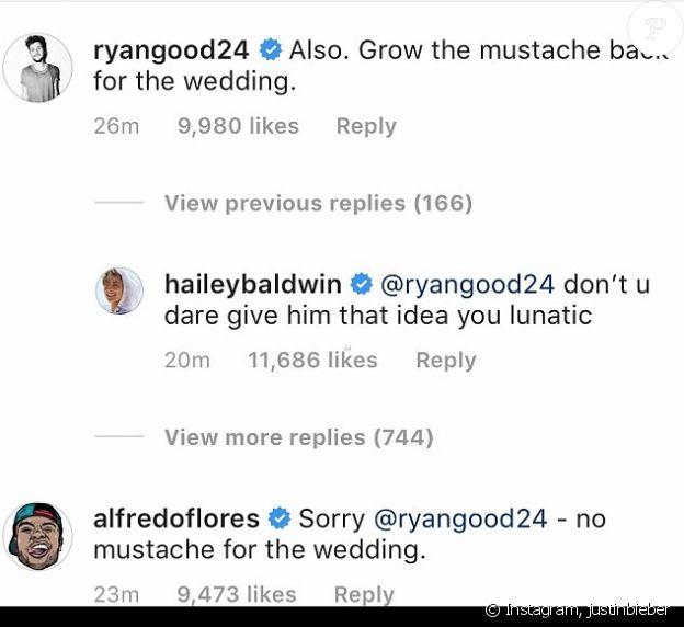 """Hailey Baldwin dit """"non"""" à la moustache sur l'Instagram de son fiancé Justin Bieber."""