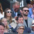 Justin Timberlake et sa femme Jessica Biel dans les tribunes du tournois de Wimbledon à Londres, le 10 juillet 2018.