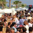 Exclusif - Donald Trump Jr (l'homme au chapeau de paille) au Nikki Beach à Saint-Tropez. Le 13 juillet 2018 © Luc Boutria / Nice Matin / Bestimage