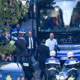 Didier Deschamps - Descente des joueurs de l'équipe de France de football sur l'avenue des Champs-Elysées depuis le toit de l'Arc de Triomphe à Paris, le lendemain de la victoire de la France lors de la Coupe du Monde de Football 2018 en Russie. Le 16 juillet 2018