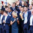Le président de la République Française Emmanuel Macron et la Première dame Brigitte Macron, accueillent les joueurs de l'équipe de France (Les Bleus) et son sélectionneur Didier Deschamps, le président de la Fédération Française de Football Noël Le Graët et des membres de la FFF, au Palais de l'Elysée. L'équipe de France est en provenance directe de Russie où elle a été sacrée Championne du Monde 2018, pour la deuxième fois de son histoire, après sa victoire en finale face à la Croatie (42). Paris, le 16 juillet 2018. © Stéphane Lemouton/Bestimage