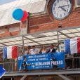Benjamin Pavard et le maire de Jeumont Benjamin Saint-Huile - Le champion du monde 2018 de football Benjamin Pavard est de retour dans sa ville de Jeumont dans le Nord de la France le 18 juillet 2018. © BO/Bestimage