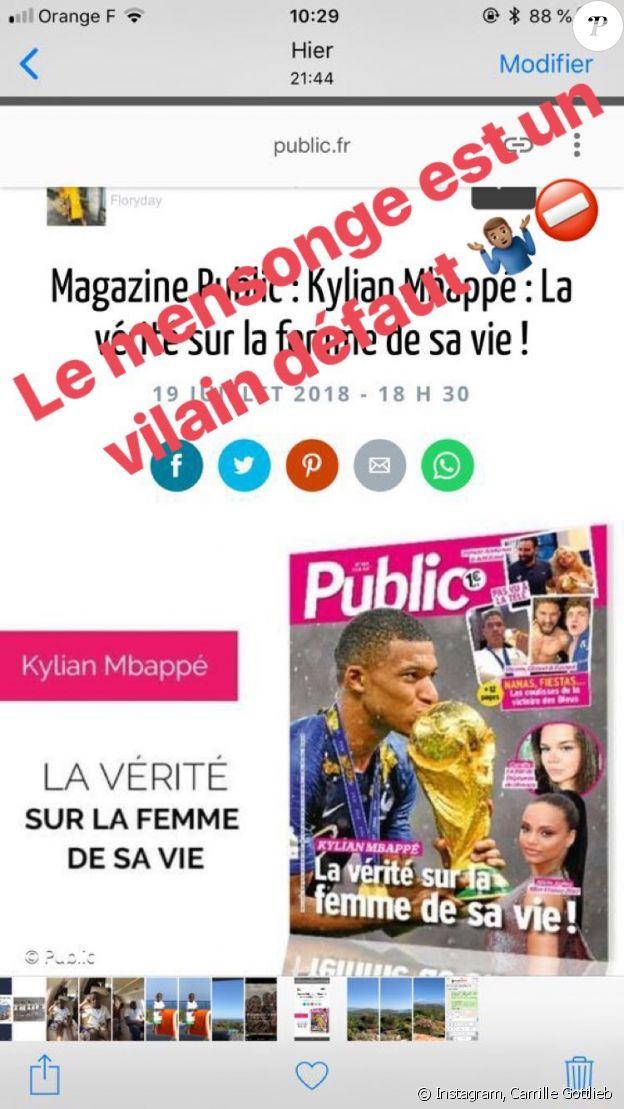 Kylian Mbappé réagit aux rumeurs de couple avec Camille Gottlieb sur Instagram le 20 juillet 2018.