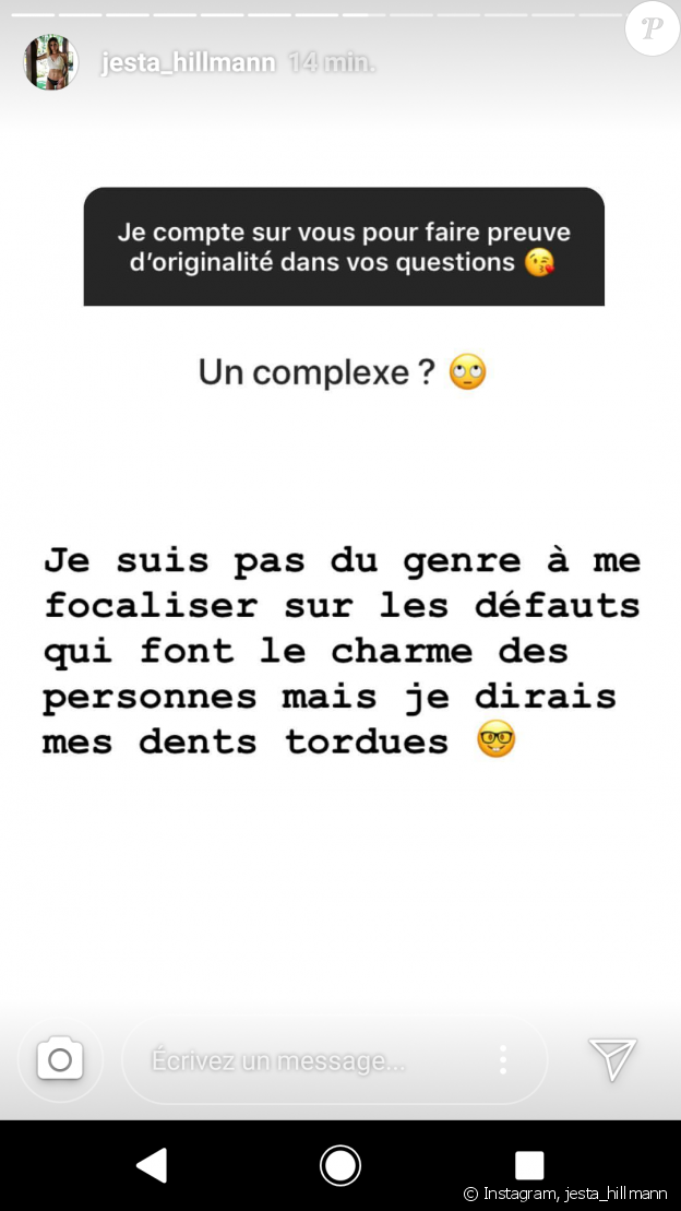 Jesta (Koh-Lanta) dévoile son plus gros complexe sur Instagram le 22 juillet 2018.
