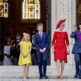 Le roi Philippe et la reine Mathilde de Belgique et leurs enfants la Princesse Elisabeth, le Prince Gabriel , le Prince Emmanuel et la Princesse Eléonore se rendent à la messe à l'occasion de la fête nationale Belge à Bruxelles le 21 juillet 2018