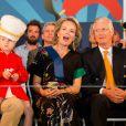 Le roi Philippe de Belgique et la reine Mathilde de Belgique assistent au Bal national à l'occasion de leur 5 ans de règne où ils ont notamment assisté au concert de Lio et Plastic Bertrand, place du Jeu de Balle à Bruxelles le 20 juillet 2018.