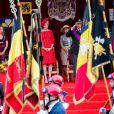 Le Roi Philippe de Belgique, la Reine Mathilde de Belgique et leurs 4 enfants, la princesse Elisabeth, le prince Gabriel, le prince Emmanuel, la princesse Eléonore ainsi que le prince Laurent de Belgique, la princesse Claire de Belgique, la princesse Astrid de Belgique et le prince Lorenz assistent au défilé militaire, à Bruxelles, à l'occasion de la fête Nationale belge.