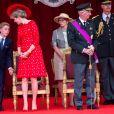 Le prince Emmanuel de Belgique, le Roi Philippe de Belgique et la Reine Mathilde de Belgique assistent au défilé militaire, à Bruxelles, à l'occasion de la fête Nationale belge. Belgique, Bruxelles, 21 juillet 2018.