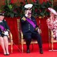 La princesse Astrid de Belgique, le prince Laurent de Belgique et la princesse Claire de Belgique assistent au défilé militaire, à Bruxelles, à l'occasion de la fête Nationale belge. Belgique, Bruxelles, 21 juillet 2018.