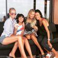 Laeticia et Jade Hallyday avec des amies dont Christina Apostolidou à Saint-Barthélemy, vendredi 6 juillet 2018.