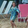 Exclusif - Hayden Panettiere profite d'une belle journée ensoleillée avec sa fille Kaya sur une plage de Bridgetown à la Barbade, le 19 février 2018