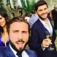 Christophe Beaugrand et son mari Ghislain en compagnie de Leila Ben Khalifa lors d'un mariage - Instagram, mai 2018
