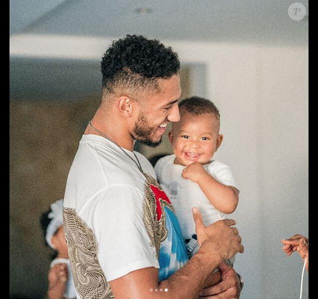 Tony Yoka et Estelle Mossely fêtent le 1er anniversaire de leur fils, Ali. Août 2018.