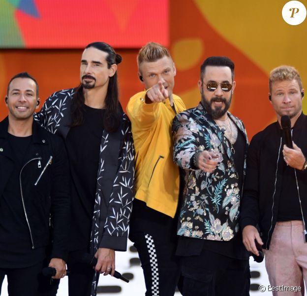 The Backstreet Boys sur le plateau de l'émission 'Good Morning America' à New York, le 12 juillet 2018.