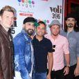 """Le groupe Backstreet Boys (Nick Carter, Kevin Richardson, A. J. McLean, Brian Littrell et Howie Dorough) à l'inauguration de la boutique """"Sugar Factory American Brasserie"""" à Las Vegas, le 20 avril 2017."""
