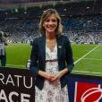 Semi-Exclusif - Isabelle Ithurburu (enceinte) lors de la finale du Top 14 français entre Montpellier et Castres au Stade de France, le 2 juin 2018. © Pierre Perusseau/Bestimage