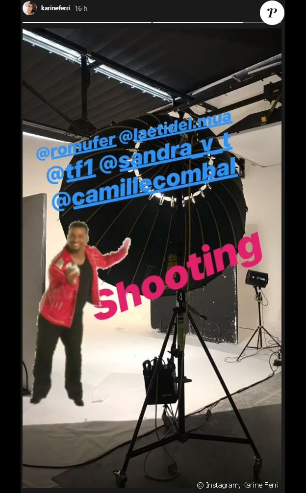 Karine Ferri sur le plateau d'une séance photo - Instagram, 20 août 2018