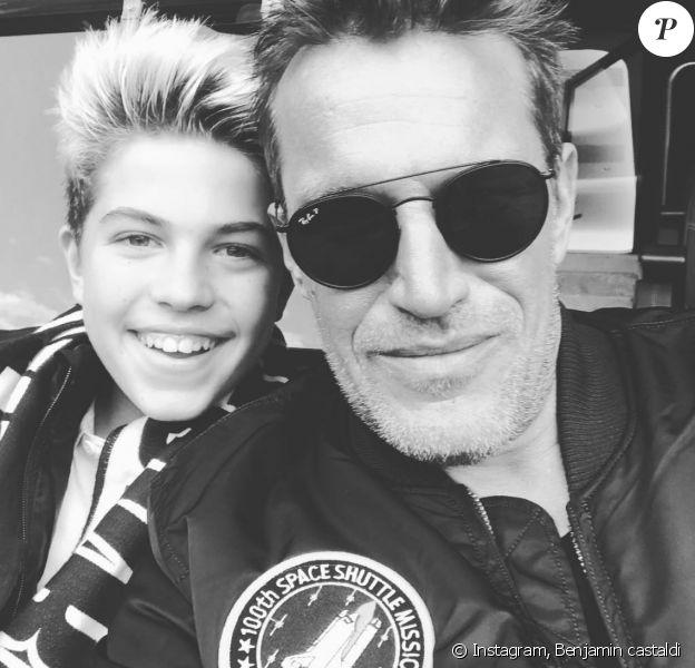 Benjamin Castaldi et son fils Enzo au match de PSG - Angers samedi 25 aout 2018  - Instagram