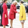 La première dame Brigitte Macron arrive à l'Académie royale des beaux-arts du Danemark à Copenhague avec la princesse Mary de Danemark le 28 août 2018. © Dominique Jacovides / Bestimage