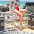 Exclusif - Rendez-vous avec Delphine Wespiser lors de la Beach Party du Radisson Blu Party de Djerba, le 5 août 2018.