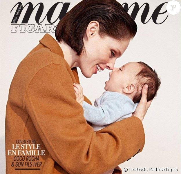 Coco Rocha et son fils Iver en couverture du magazine Madame Figaro. Photo par Max Abadian.