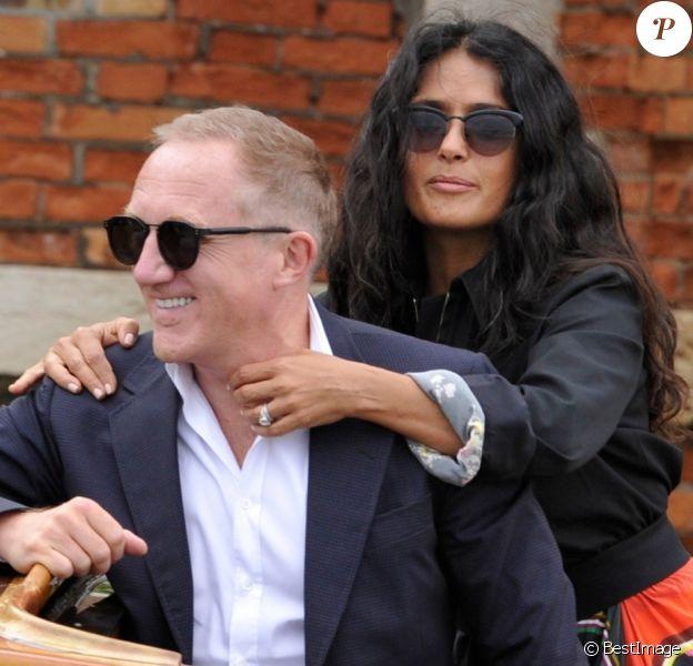 Salma Hayek et son mari François-Henri Pinault prennent un taxi boat à Venise lors du 75ème festival du film, la Mostra le 31 août 2018.