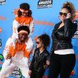 Mariah Carey et Nick Cannon avec leurs enfants Morrocan et Monroe à la soirée Nickelodeon's 2018 Kids' Choice Awards à Inglewood, le 24 mars 2018.