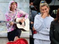 Justin Bieber : Guitare et sourire béat pour ravir Hailey Baldwin en pleine rue