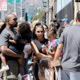 Kim Kardashian avec son mari Kanye West et leurs enfants Saint West et North West - Les Kardashians sont allés déjeuner avec leurs enfants au restaurant Carousel à Los Angeles, le 13 juillet 2018