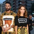 "Nabilla Benattia et Thomas Vergara au défilé Versace - Collection Prêt-à-Porter Printemps/Eté 2019"" lors de la Fashion Week de Milan (MLFW) le 21 septembre 2018."