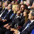 David et sa femme Victoria Beckham durant le tirage au sort de la Ligue des champions de l'UEFA 2018/2019 dans la salle des Princes du Griamdi Forum à Monaco, le 30 août 2018. © Bruno Bébert/Bestimage