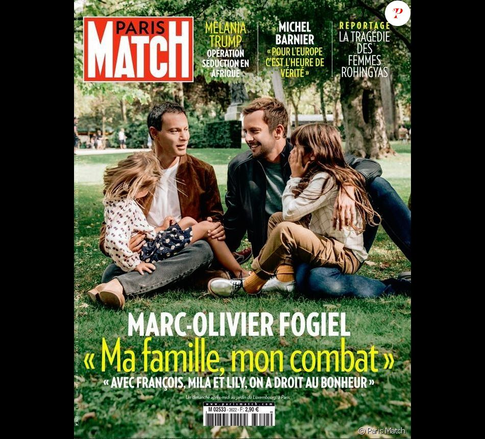 marc olivier fogiel en couverture de paris match avec son mari et leurs filles purepeople. Black Bedroom Furniture Sets. Home Design Ideas