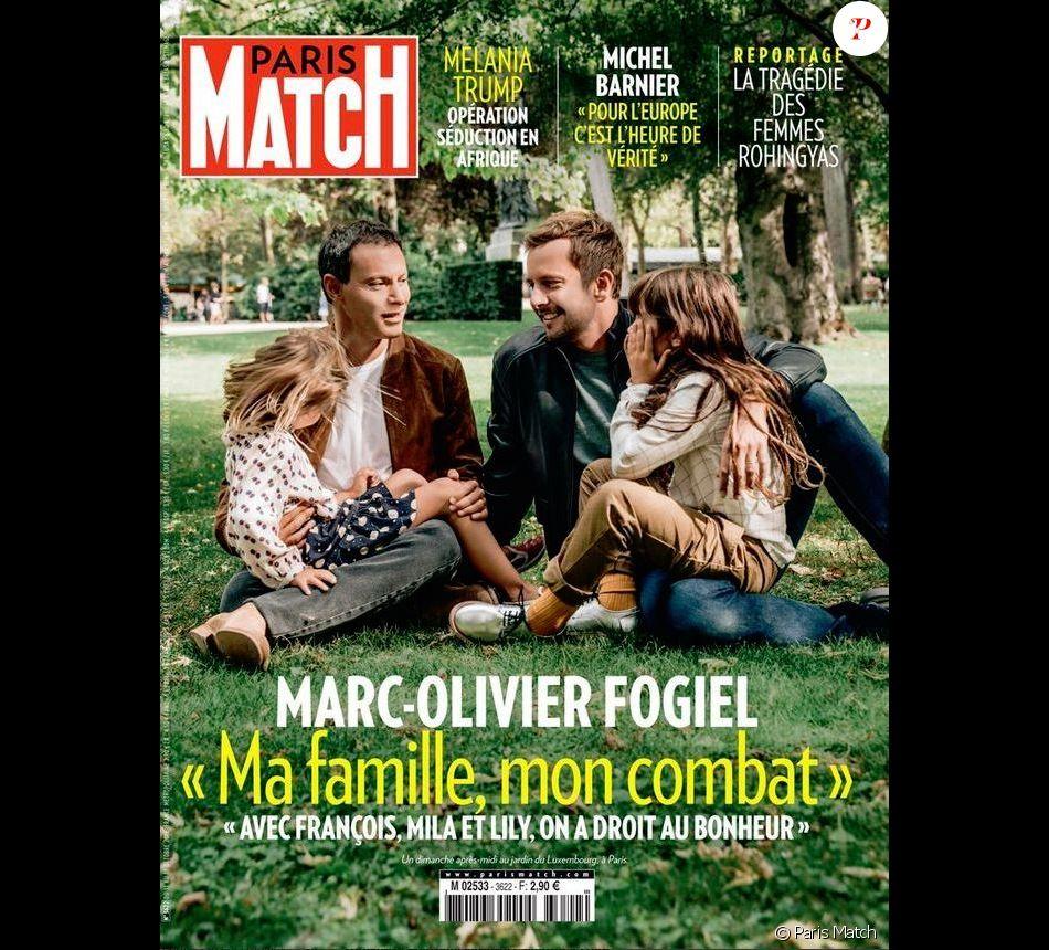 marc olivier fogiel en couverture de paris match avec son mari et leurs filles purepeople. Black Bedroom Furniture Sets. Home Design Ideas