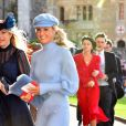 Chelsy Davy et guest - Les invités arrivent à la chapelle St. George pour le mariage de la princesse Eugenie d'York et Jack Brooksbank au château de Windsor, Royaume Uni, le 12 octobre 2018.