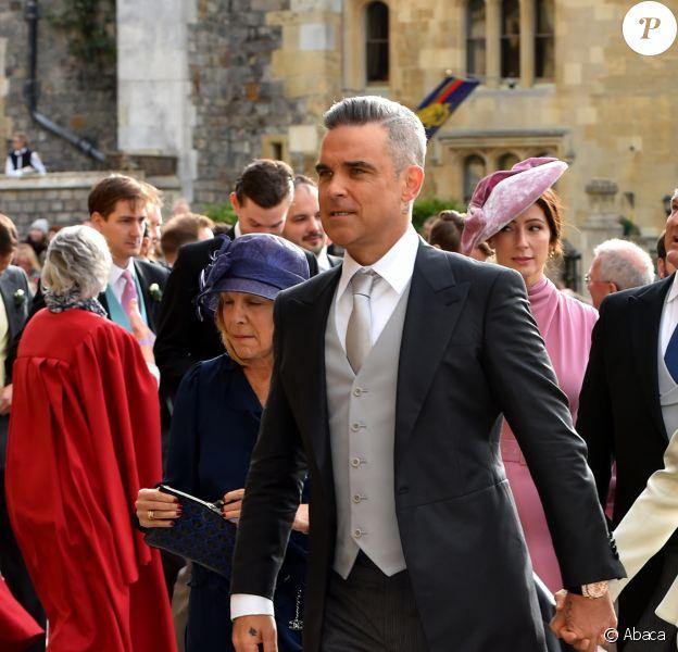 Robbie Williams et Ayda Field - Les invités arrivent à la chapelle St. George pour le mariage de la princesse Eugenie d'York et Jack Brooksbank au château de Windsor, Royaume Uni, le 12 octobre 2018.