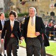 Elliott Spencer et Stephen Fry - Les invités arrivent à la chapelle St. George pour le mariage de la princesse Eugenie d'York et Jack Brooksbank au château de Windsor, Royaume Uni, le 12 octobre 2018.