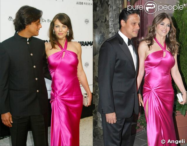 Elizabeth Hurley et son mari Arun Nayar en 2003 (à gauche), puis en 2009 (à gauche)