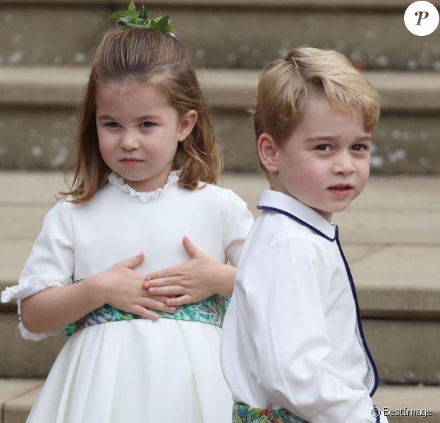 La princesse Charlotte de Cambridge et le prince George de Cambridge - Les invités arrivent à la chapelle St. George pour le mariage de la princesse Eugenie d'York et Jack Brooksbank au château de Windsor, Royaume Uni, le 12 octobre 2018.