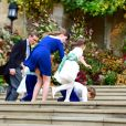 Louis de Givenchy, Lady Louise Mountbatten-Windsor - Les invités arrivent à la chapelle St. George pour le mariage de la princesse Eugenie d'York et Jack Brooksbank au château de Windsor, Royaume Uni, le 12 octobre 2018.