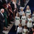 Les garçons et demoiselles d'honneur, dont le prince George et la princesse Charlotte de Cambridge,au mariage de la princesse Eugenie d'York et Jack Brooksbanken la chapelle Saint-Georgeau château de Windsor, Royaume Uni, le 12 octobre 2018.