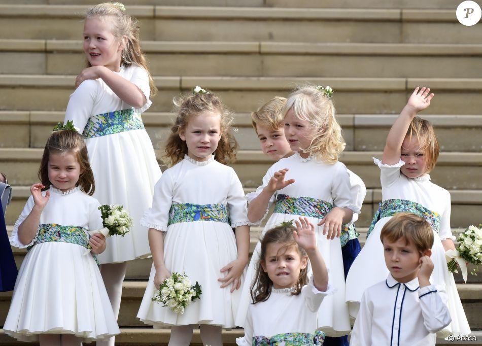 Les garçons et demoiselles d'honneur au mariage de la princesse Eugenie d'York et Jack