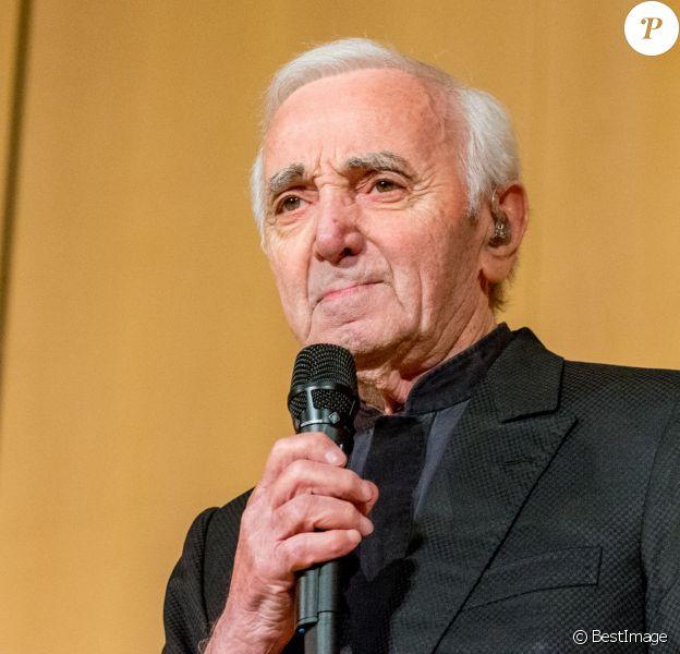 Charles Aznavour en concert à l'Office des Nations Unies à Genève. Le 13 mars 2018
