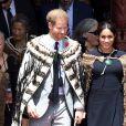 Le prince Harry, duc de Sussex, et Meghan Markle, duchesse de Sussex (enceinte) visitent Te Papaiouru Marae à Rotorua, Nouvelle Zélande le 31 octobre 2018.
