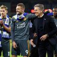 Claude Puel et Jamie Vardy - Hommages lors du match entre Leicester City et Cardiff City le 3 novembre 2018.