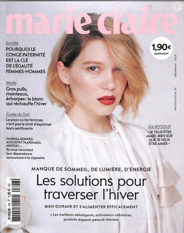 """Couverture du magazine """"Marie Claire"""" en kiosque le 7 novembre 2018"""