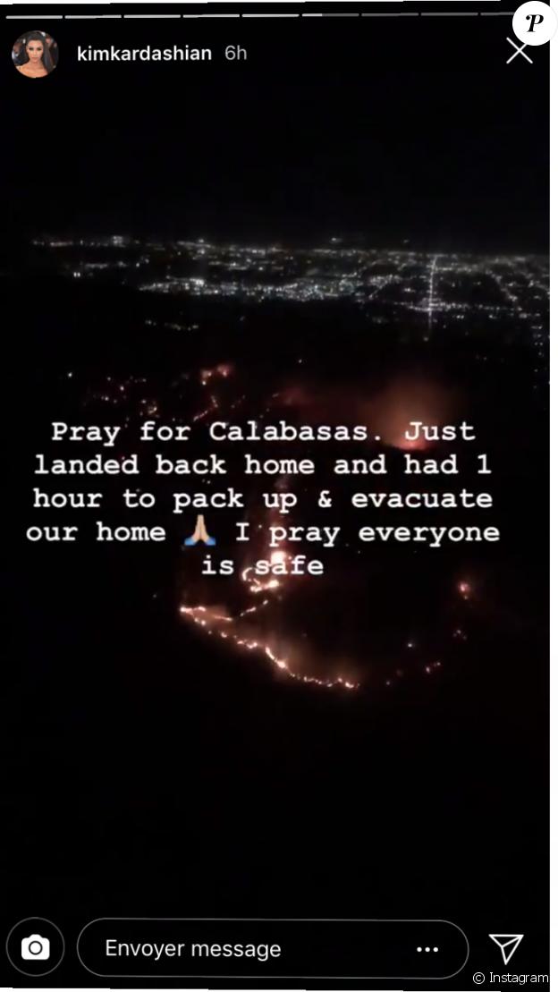 Kim Kardashian confie avoir été obligée d'évacuer son domicile de Calabasas en raison d'incendies. Le 8 novembre 2018.